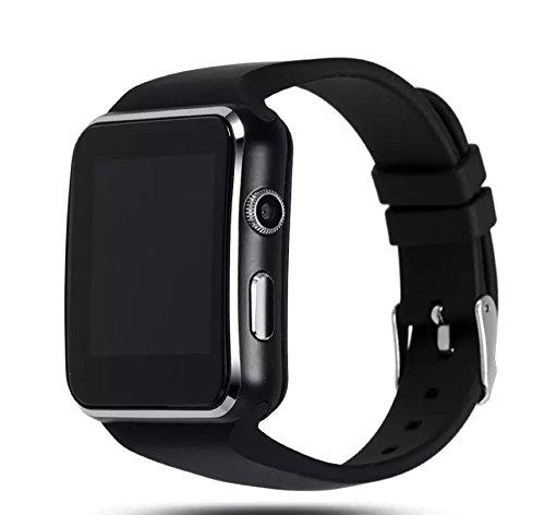 X6 Bluetooth Reloj inteligente iPhone Andriod cámara tarjeta SIM pantalla curva de goma PS pantalla aleación