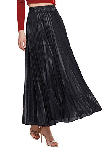 Amormio Women's Glittery Gold/Silver High-Waist Metallic Accordion Pleated Formal Party Maxi Skirt (Noble Black, Large)