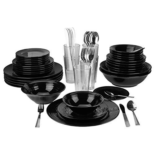 10 Strawberry Street Nova Black Round 62-Piece Dinnerware Set, Service for 6