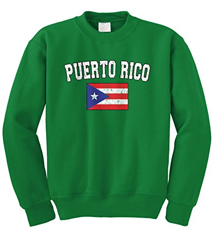 Cybertela Faded Distressed Puerto Rico Flag Crewneck Sweatshirt (Kelly Green, Small) - Green Distressed Crewneck