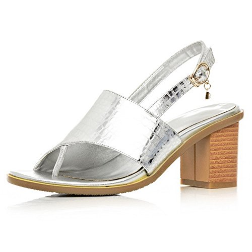 Amoonyfashion Womens Split Toe Kitten Tacchi Sandali Con Fibbia In Argento Massiccio