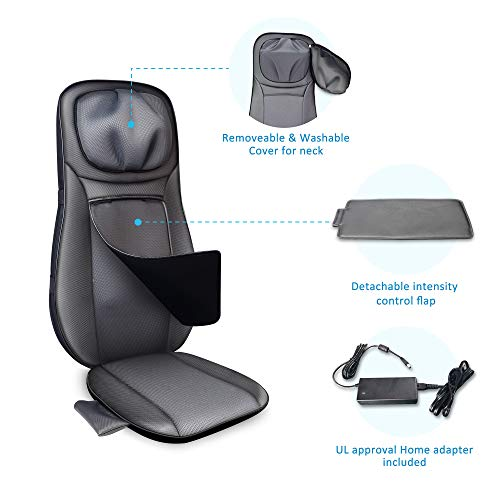 Snailax Shiatsu Neck & Back Massager - Full Back Massager with Heat, Kneading Shiatsu or Rolling Massage, Massage Chair pad with Height Adjustment, Relieve Muscle Pain
