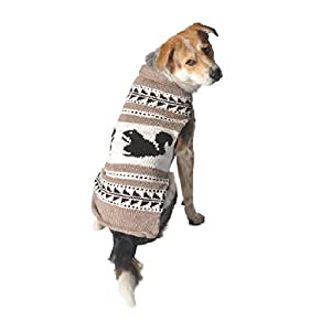 Chilly Dog Cowichan Squirrels Dog Sweater, XX-Large