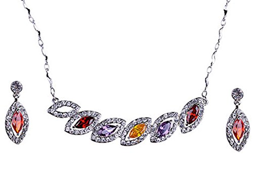 Alilang Multi Color Tear Drops Leaves Swarovski Crystal Rhinestone Earring Necklace Set