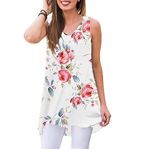 Akihoo Women Summer Casual Sleeveless Floral Printed Swing Hi-Low Hem T Shirts Sundress White Print 2XL