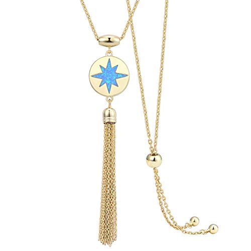 KISSPAT 14K Gold Blue Opal Pendant Tassel Necklace with Slider Chain Double Sided Starburst Jewelry for Women