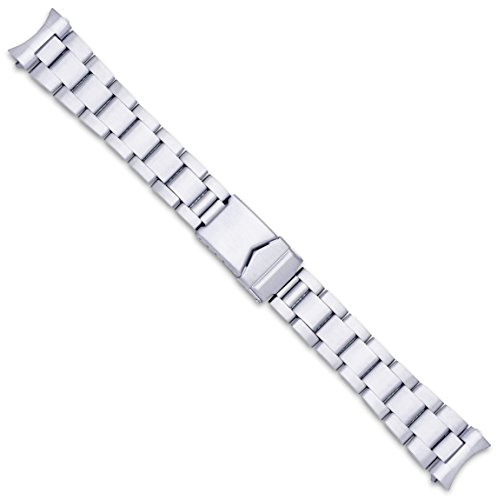 - deBeer LM111 20mm Oyster Style Solid Link Metal Siver Watch Band