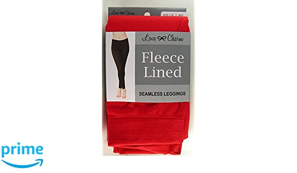 c389fe8761604 Fleece Lined Seamless Leggings (L/XL, Red) at Amazon Women's Clothing store: