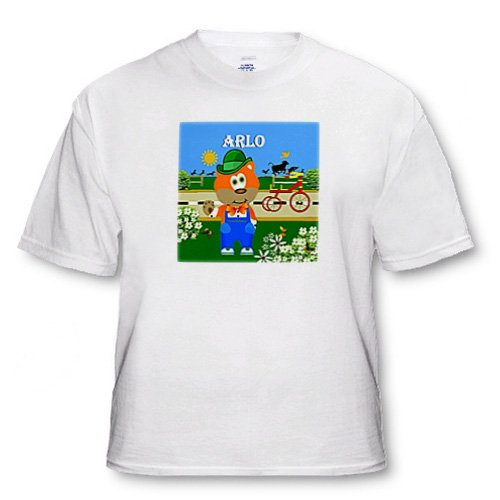 SmudgeArt Male Child Name Design - Decorative Bear Wearing Overalls with the name Arlo - T-Shirts