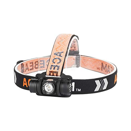 Acebeam H40 Mini Headlamp Stepless Dimming from 1050lumens to 5lumens by Li-ion Battery, Ranging from 250lumens to 5lumens by Ni-MH or AA Battery Great for Reading Running Hiking Hunting ()