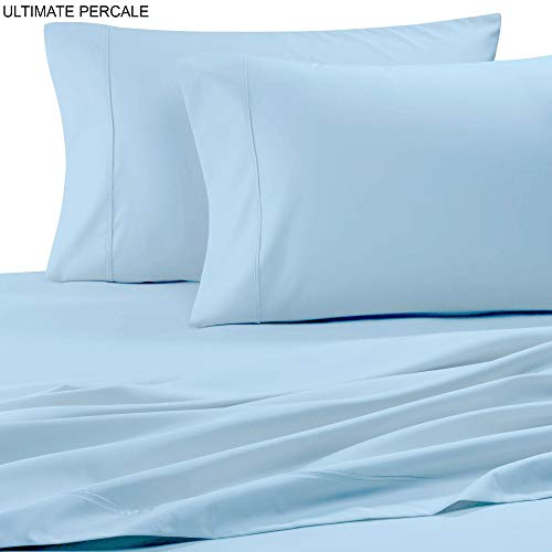 (Ultimate Percale 400 Thread Count 100% Cotton Pillow Case Set,2 Piece Set,Bestselling PC King Pillowcases Percale Weave,Classic Z-Hem,Super Soft Finish,Crisp and Cool Pillowcase,Light Blue)