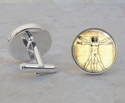 Vitruvian Man Leonardo da Vinci Symbol .925 Sterling Silver Cufflinks