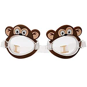 Animal Monkey Kids Swimming Goggles Adjustable Anti Fog Swim Goggles Soft Silicone Frame Watertight Swim Glasses Strap for Youth Child Boys Girls Early Teens