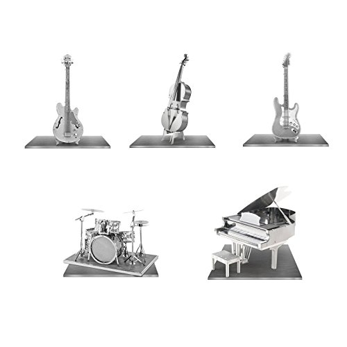 Set of 5 Metal Earth 3D Laser Cut Instrument Model Kits: Grand Piano - Bass Fiddle - Drum Set - Electric Bass Guitar - Electric Lead Guitar
