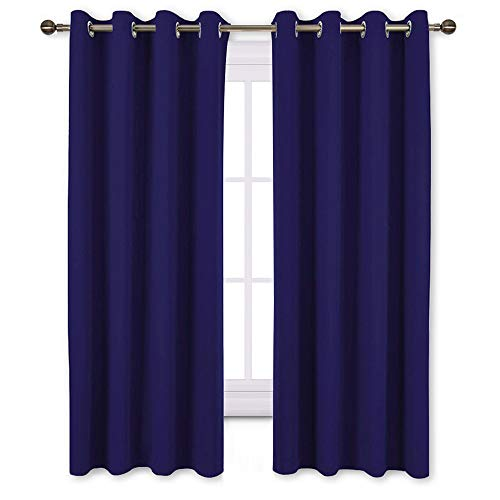 NICETOWN Blackout Window Curtains and Drapes - Thermal Insulated Solid Grommet Top Blackout Panels/Draperies for Kid's Room (Dark Blue, 1 Pair, 52 x 63 Inch)