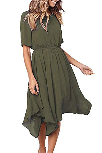 Alaster Queen Women's Chiffon Short Sleeve Casual Midi Dress Empire Waist Irregular Hem Summer Dress (Olive Green, Large) … …