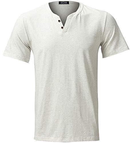(INFLATION Mens Elastic Slim Fit Short Sleeve Button V-Neck Causal T Shirt Cream )