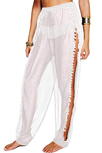- wsevypo Women Sexy See Through Sheer Mesh Ruffle Pants Perspective Swimsuit Bikini Bottom Cover up Party Clubwear Pants (Side Slit/White, M)