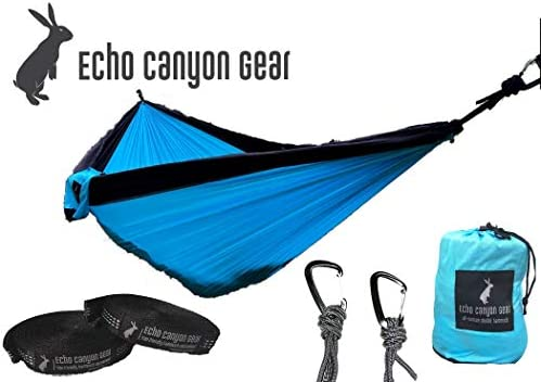 Echo Canyon Gear All-Season Double Camping Hammock – Portable Stuff Sack, Lightweight Parachute Hammock Ideal for Travel, Backpacking, Leisure
