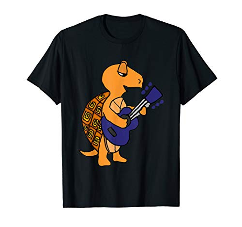 (Smilemoretees Funny Box Turtle Playing Guitar T-shirt)