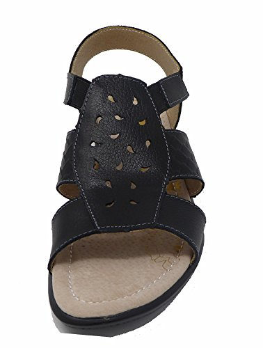 Coolers Sandals Wide Black Ladies Fit Leather rn8WrIq