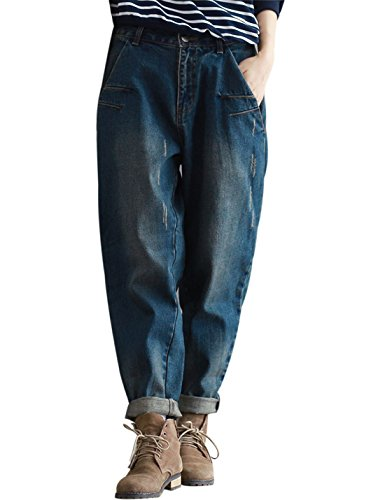 Yeokou Women's Casual Loose Distressed Baggy Harem Denim Jeans Cropped Pants (X-Large, Dark Blue)