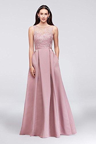Appliqued Illusion Faille Bridesmaid Dress Style OC290023, Quartz, (Oleg Cassini Bridal Dresses)