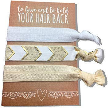 Mayde Ribbon Hair Ties, Hair Bands Party Favors Kit for Bachelorette or Bridal Parties (Gold, Pack of 6)