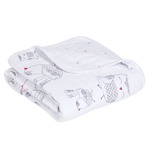 aden + anais Classic Stroller Blanket, 100% Cotton Muslin, 4 Layer lightweight and breathable, 27.5 X 27.5 inch, Lovebird