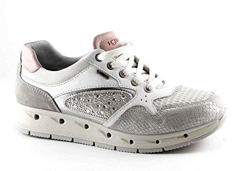 Igi amp;co Lacets Argent tex Cuir En 77626 Blanches Bianco Baskets Chaussures Gore UpngUrwSq