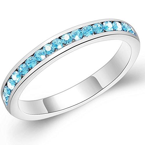 Sinlifu 3mm Stackable Plating Silver Eternity Band Birthstoness Ring Swarovski Elements Crystal (March - Aquamarine, 9)