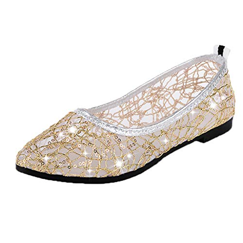 OrchidAmor Woman's Fashion Casual Round Toe Crystal Shallow Work Shoes Ladies Flat Shoes 2019 Gold