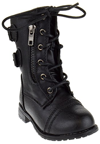 Mango 61K Little Kids Combat Lace Up Boots Black 3 ()