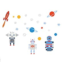 3D Universe Robot Wall Decal Stickers Kids Room Decor