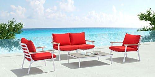 Zuo Alameda Beach Living Furniture Set, White Green