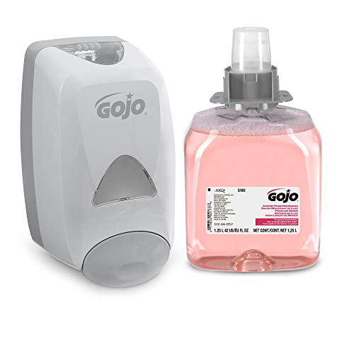 GOJO Luxury Foam Handwash, Cranberry Fragrance, FMX-12 Starter Kit, 1–1250 mL Foam Soap Refill + 1 GOJO FMX-12 Dove Grey Push-Style Dispenser – 5161-D2 (Fragrance Dispenser Kit)