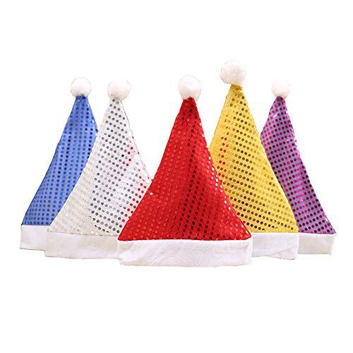 Christmas Decorations Christmas Hat Paillette Adults Men & Women 5 PCS/set 5 colors Role Playing Prop Sequined Santa hat