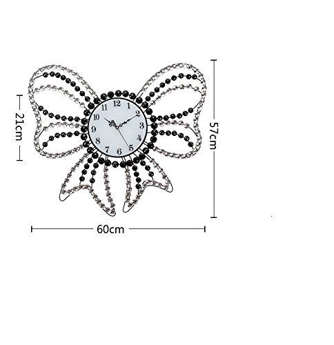 RFVBNM The Classic Home Crystal Bow Tie iron mute art living room continental modern creative Wall Clocks 6057cm wall clock