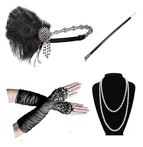 Kathyclassic 1920s Accessories Headband Earrings Necklace Gloves Cigarette Holder (CE) -