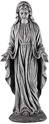 "Virgin Mary Gray Stone 29"" High Outdoor Statue"