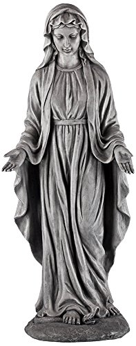 Virgin Mary Gray Stone 29″ High Outdoor Statue
