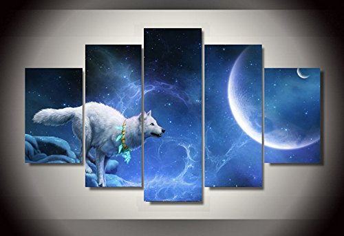 Wolf Moon Pictures ([Medium] Premium Quality Canvas Printed Wall Art Poster 5 Pieces / 5 Pannel Wall Decor Nice White Wolf Moon Painting, Home Decor Pictures - With Wooden Frame)