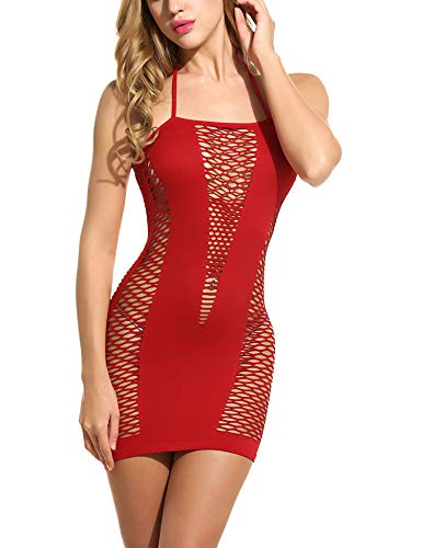 Avidlove Womens Lingerie Fishnet Badydoll Mesh Stretch Chemise Red Red One Size Fits Most ()
