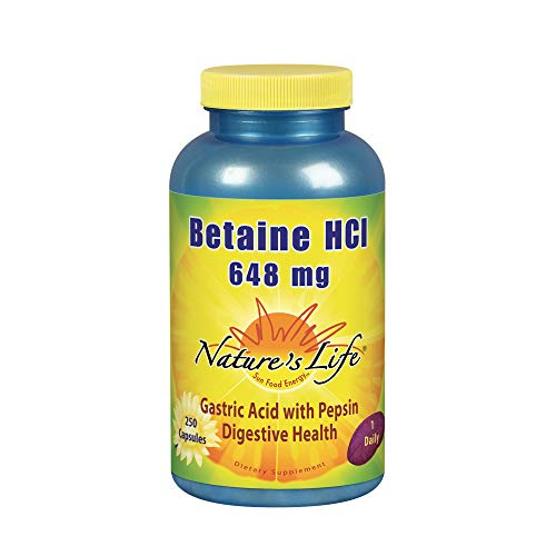- Nature's Life Betaine HCL Capsules, 648 Mg, 250 Count