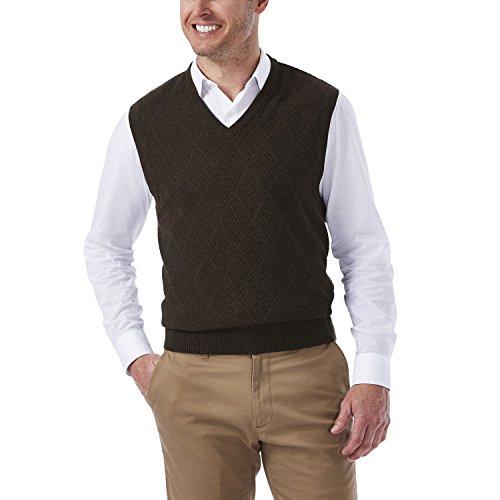 Haggar Men's Heather Diamond Texture Stitch V-Neck Sweater Vest, Dark Brown, Large (Men Sweater Vests Sweaters)