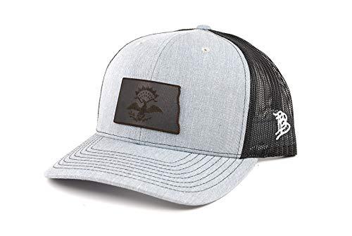 Branded Bills North Dakota 'Midnight 39' Black Leather Patch Hat Curved Trucker - OSFA/Heather Grey/Black