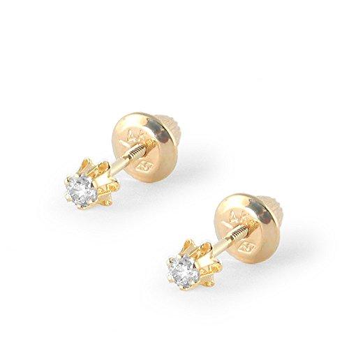 Baby Girl Jewelry - 14K Yellow Gold Diamond - Children Diamond Earrings