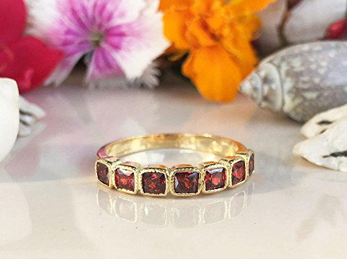 Bezel Eternity Band Half (Red Garnet Ring - January Ring - Half Eternity Ring - Stack Ring - Dainty Ring - Bezel Ring - Gemstone Band - Square Ring)