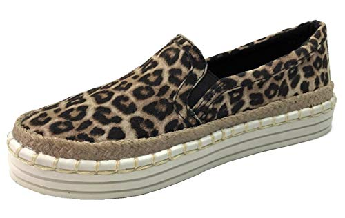 Fashion Slip On Sneakers with Jute Trim and Whip Stitch Canvas Linen, Leopard Cheetah, 5.5