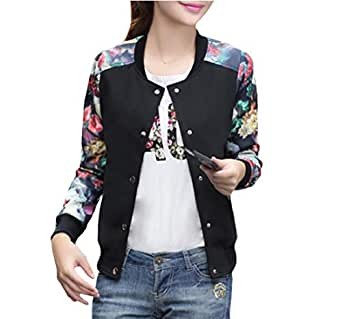 Mogogo Women's Floral Print Spring Casual Baseball Sleeve Outwear Jackets Black 2XL